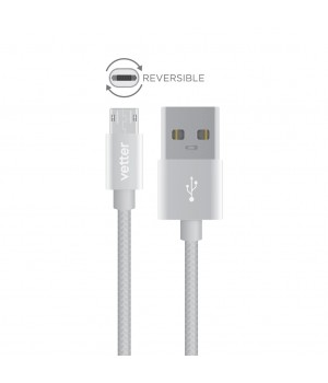 Reversible Micro USB Cable, Nylon Braided Wire, 1 m, Grey