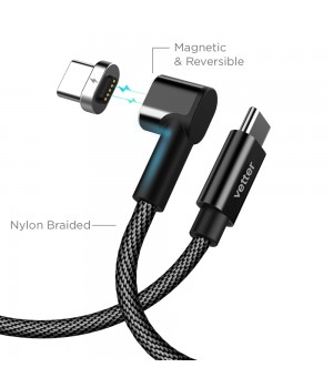 Type-C Cable to Type-C with Magnetic Connector, Nylon Braided, Black