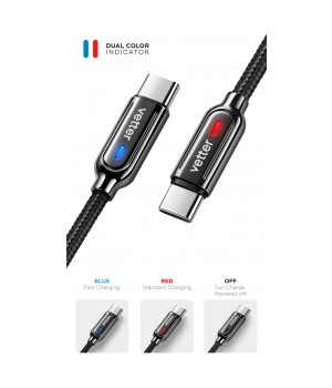Smart Type-C Cable, Auto Disconnect 2nd Gen, Led Status Indicator, Black