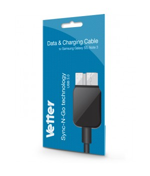 Samsung Galaxy S5, Note 3, Data and Charging Cable, Vetter Black
